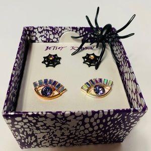 New Betsey Johnson spiderweb & eye earrings set